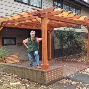 "Custom Garden Pergola (Options: 11' 4"" x 16', Redwood, Slats at 36"", Custom Posts Length, 4-post kit for stone, brick, or concrete, Transparent Premium Sealant). Photo Courtesy of Jhon & Janet K. of Falls Church, Virginia."