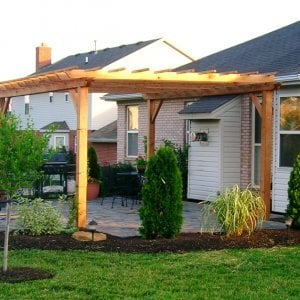 "Garden Pergola (Options: 18' L x 12' W, Douglas-fir, No Electrical Wiring Trim, Open Roof with Slats at 18"", Rafters at 18"", Lengthwise Roof Support Timbers, 4-Post Anchor Kit for Stone, No Ceiling Fan Base, No Privacy Panels, No Curtain Rods, 9' Post Height, Transparent Premium Sealant)."