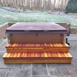 """Spa Steps (Options: 84"""" L  x 22"""" W x 18"""" H, Redwood, No Engraving, Transparent Premium Sealant, Closed Front by Custom Request). Photo Courtesy of B. Bennett of Great Falls, Virginia."""