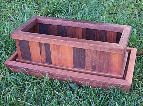 "Water Tray and Window Box Planter (Options: Planter 17.5""L x 8.5""W x 8.5""H - Water Tray 21.5""L x 11""W x 1.75""H, Old Growth Redwood, Transparent Premium Sealant)."