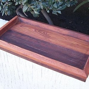 """Water Tray (Options: 1.75""""H x 11""""W x 21.5""""L, Old Growth Redwood, Transparent Premium Sealant). With 7/8"""" interior height (for Window Box Size 17.5""""L x 8.5""""W x 8.5""""H)"""