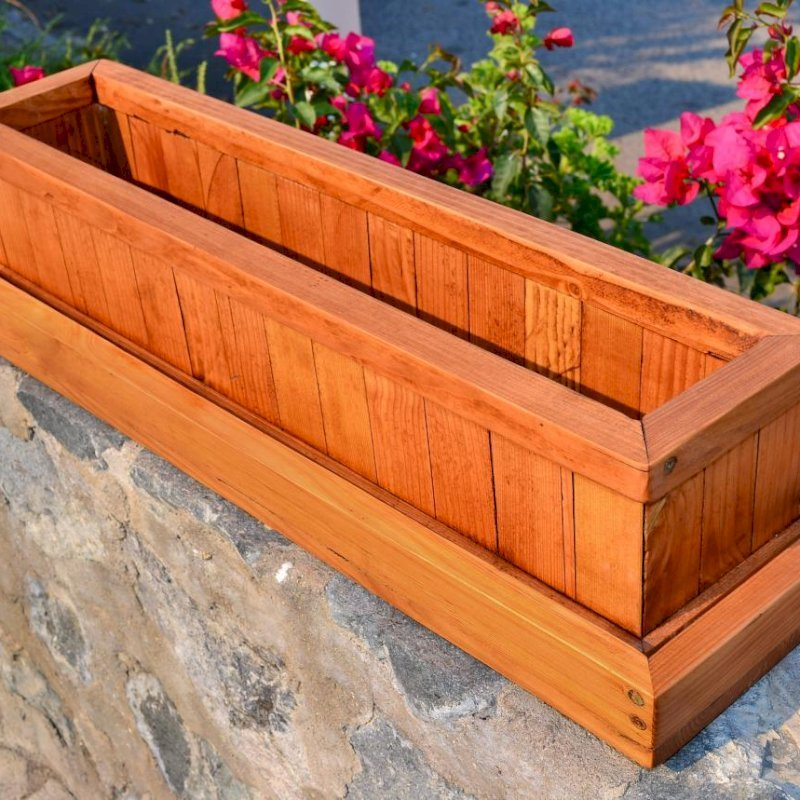 """Water Tray and Window Box Planter (Options: Planter 27"""" L x 7"""" W x 5.5"""" H - Water Tray 2"""" Tall for Planters up to 12"""" W x 40"""" L, Douglas-Fir, Transparent Premium Sealant)."""