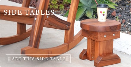Side Tables Handcrafted From Redwood Free Shipping - Redwood side table
