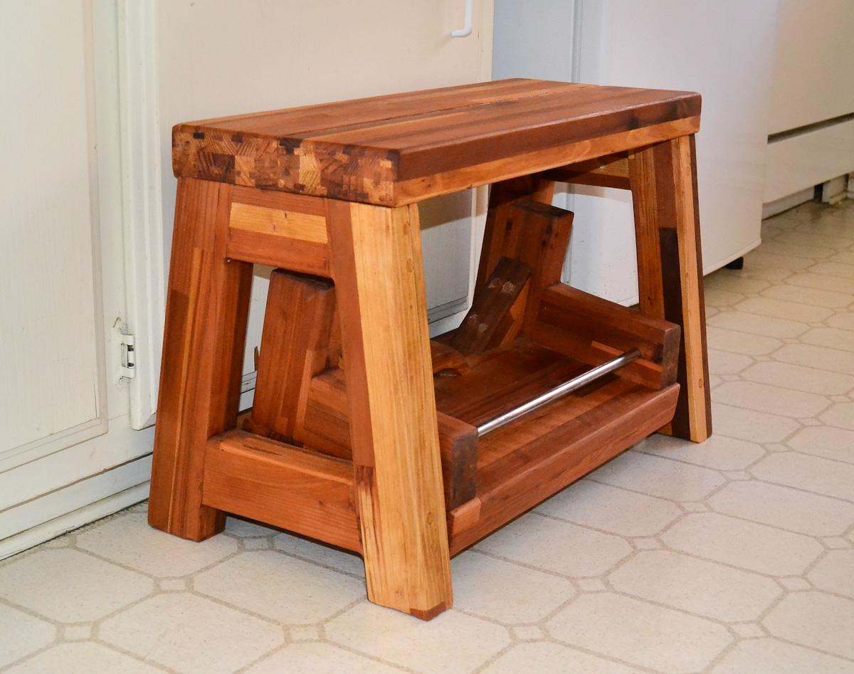 2 step wood stool. Black Bedroom Furniture Sets. Home Design Ideas
