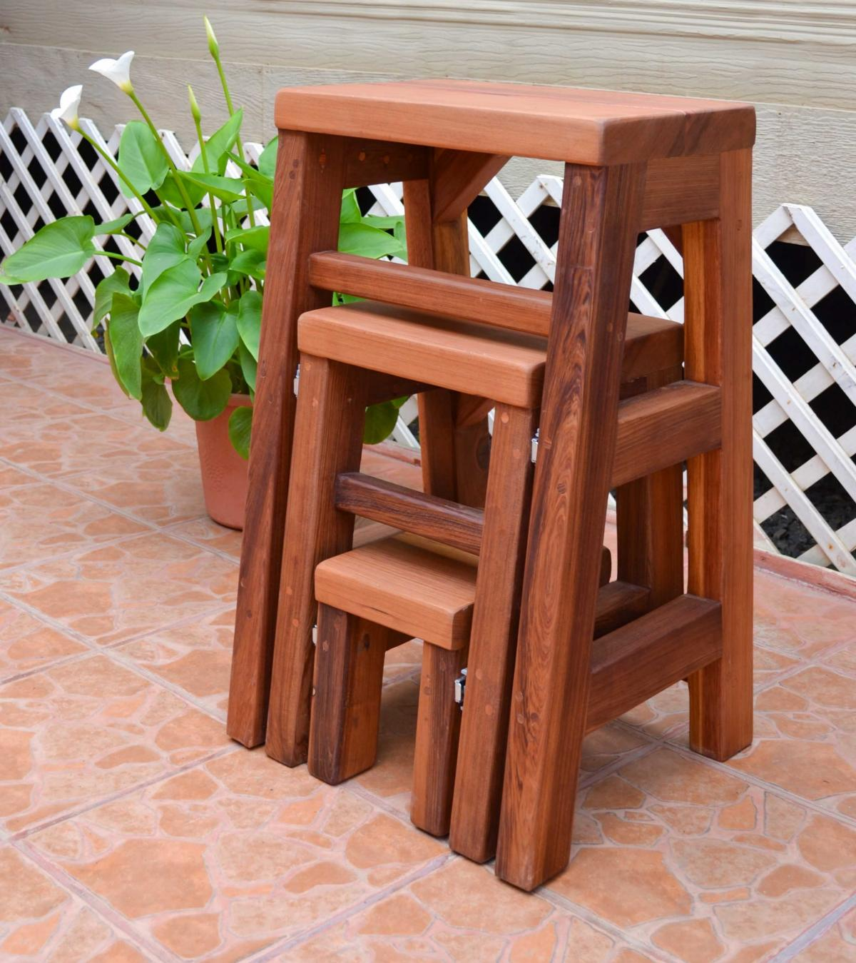 Remarkable 3 Step Wood Stool Bralicious Painted Fabric Chair Ideas Braliciousco