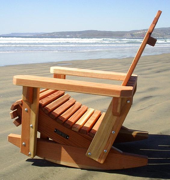 Redwood Adirondack Rocking Chair Durable Wooden Rocker