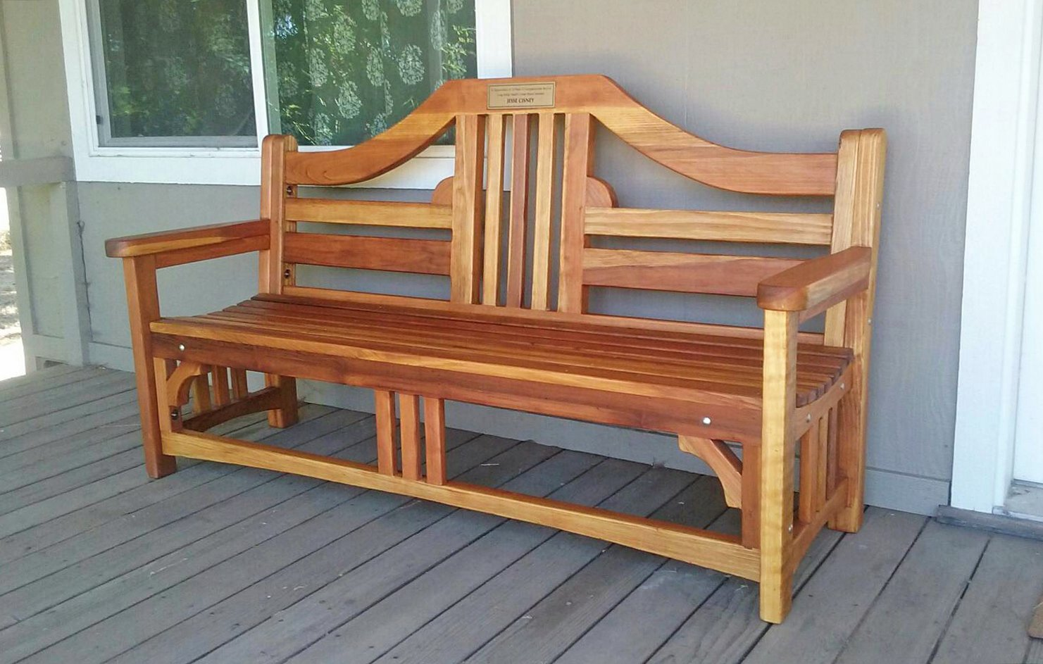 Engraved Outdoor Wood Bench Forever Redwood