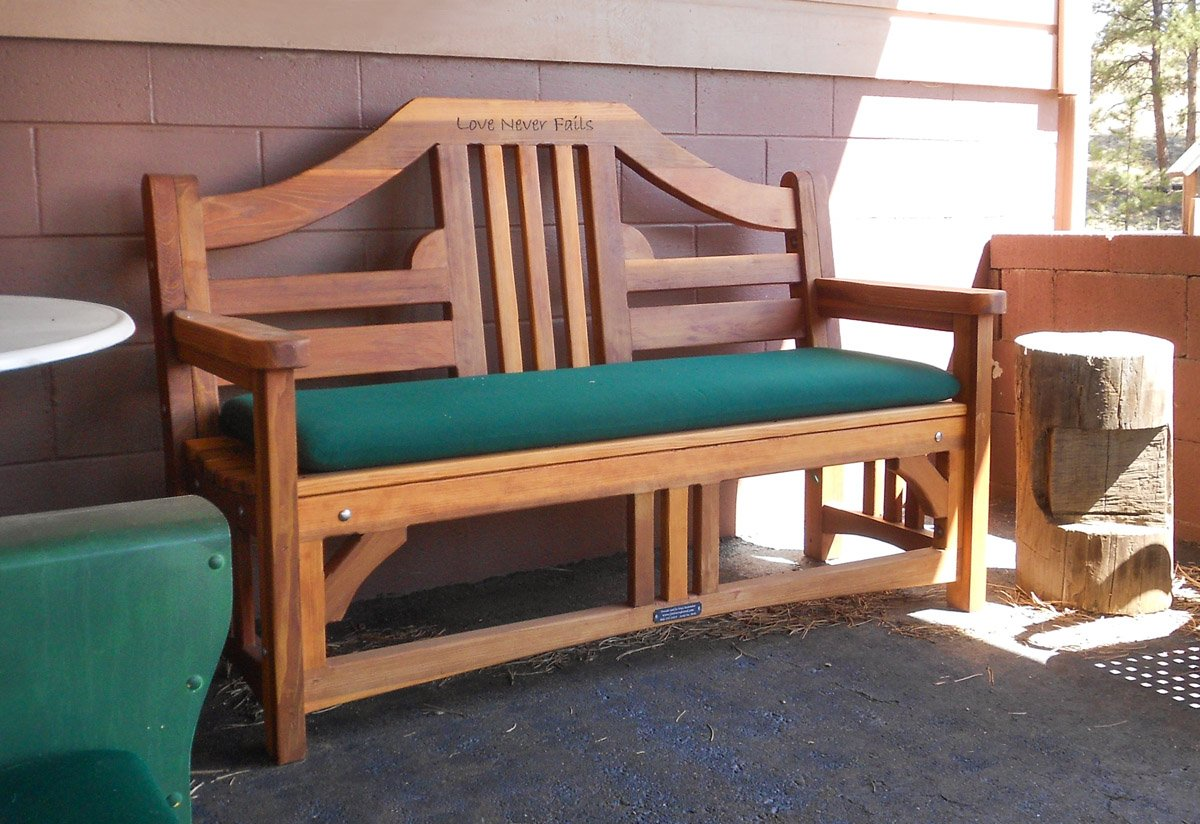 Alan S Bench Options 5 Ft Redwood Add Forest Green Cushion Custom