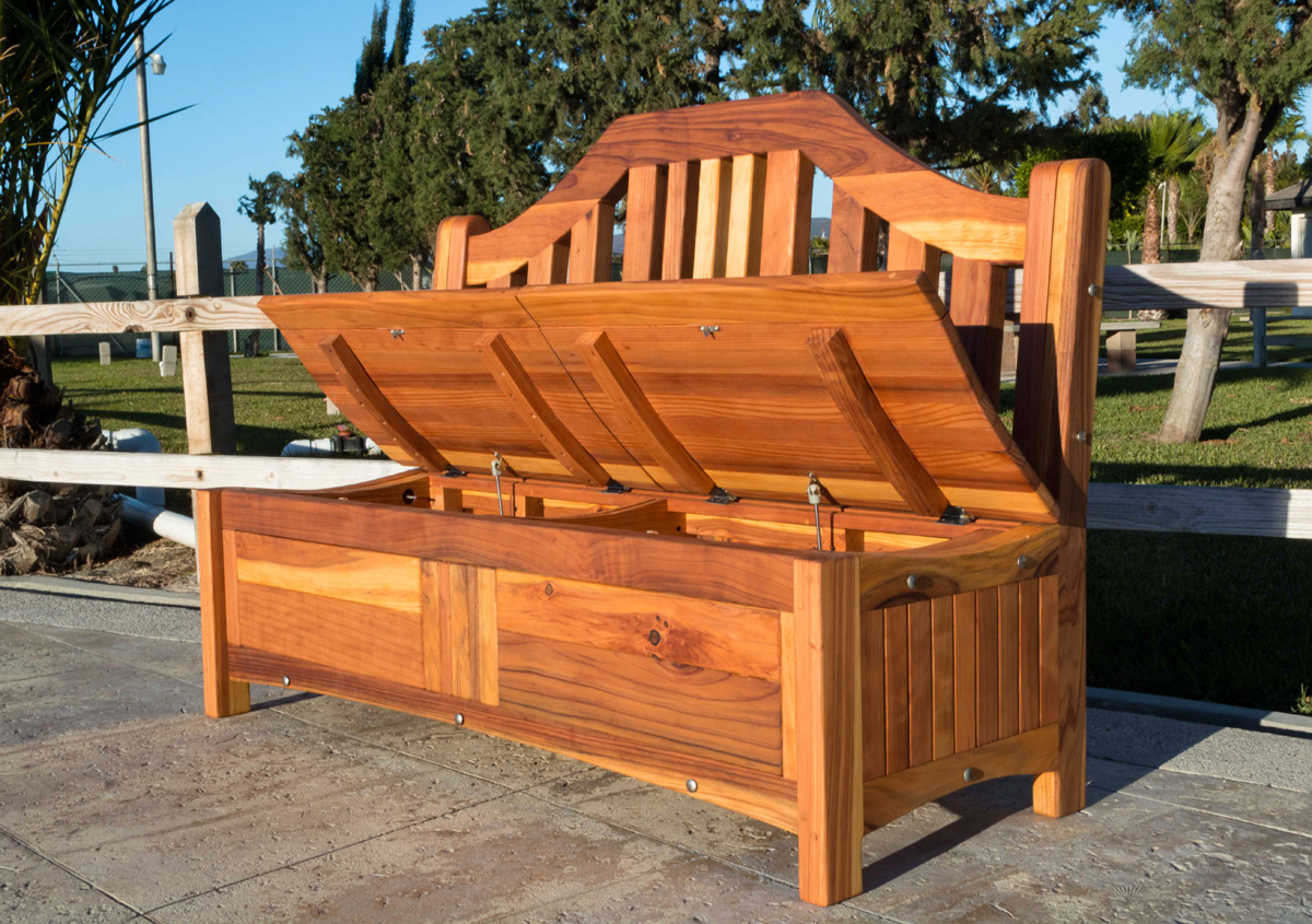 Outstanding Redwood Storage Bench Custom Outdoor Wooden Storage Gmtry Best Dining Table And Chair Ideas Images Gmtryco