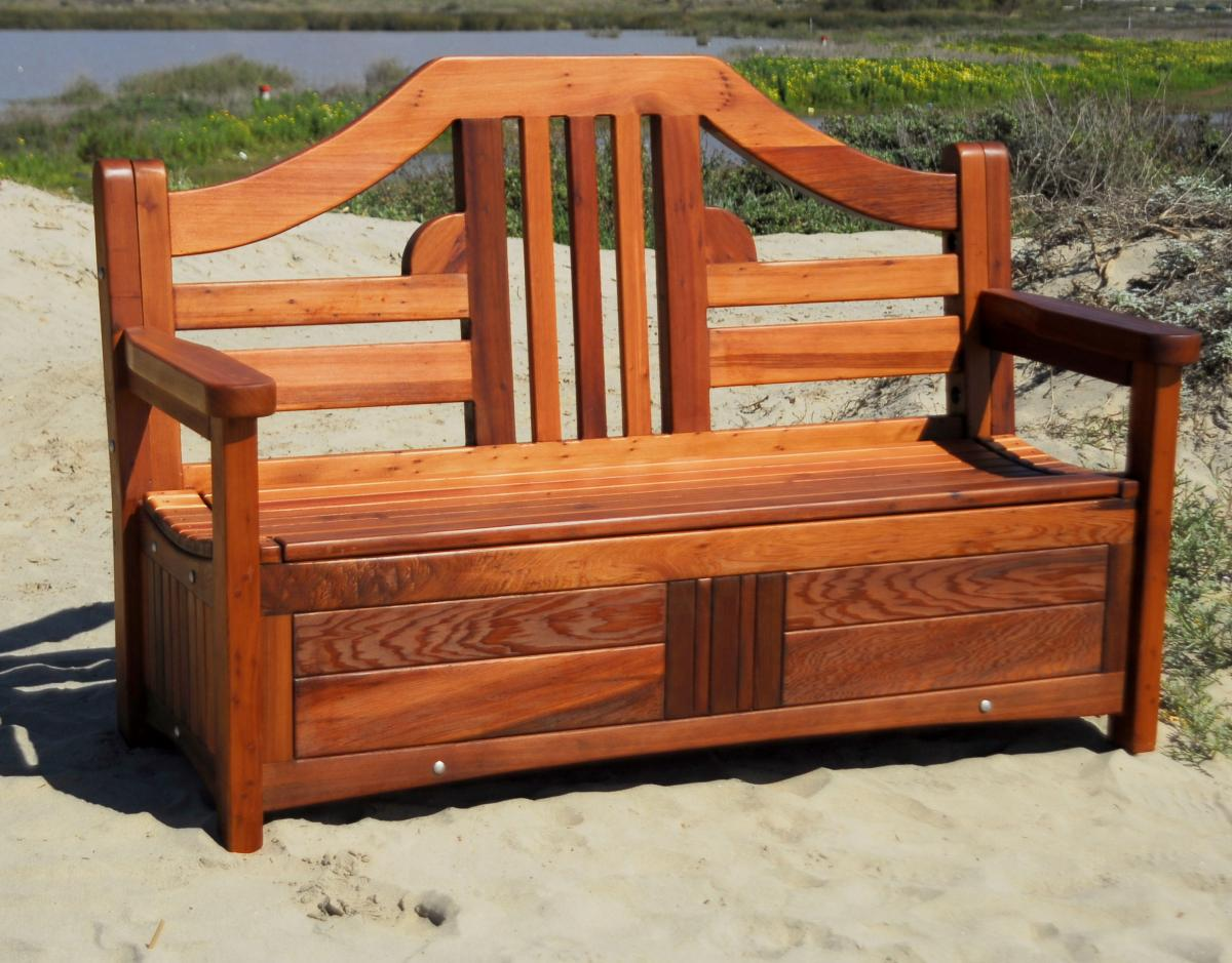 Outstanding Redwood Storage Bench Custom Outdoor Wooden Storage Short Links Chair Design For Home Short Linksinfo