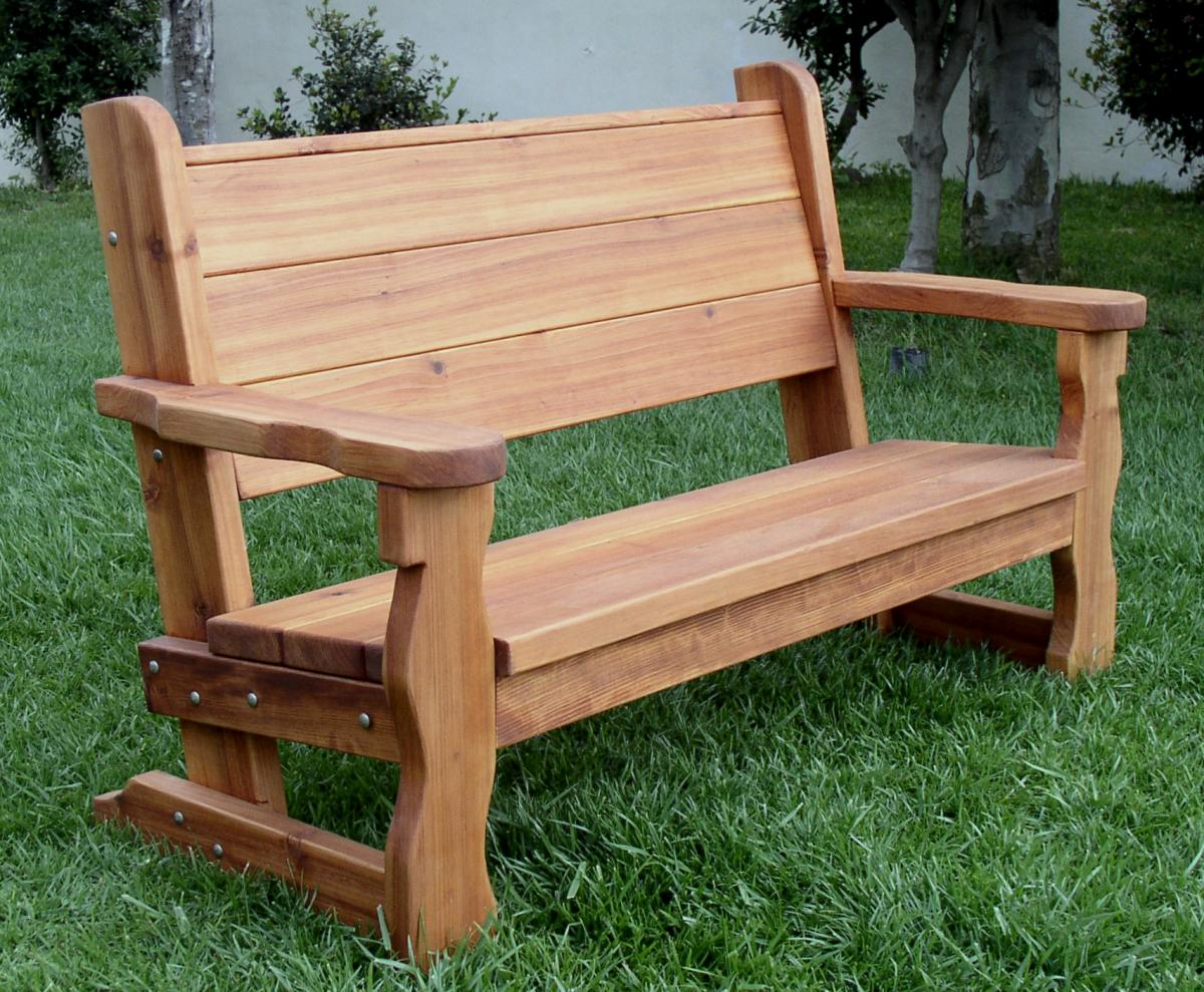 Rustic Wood Bench With Back For Garden Seating Forever Redwood