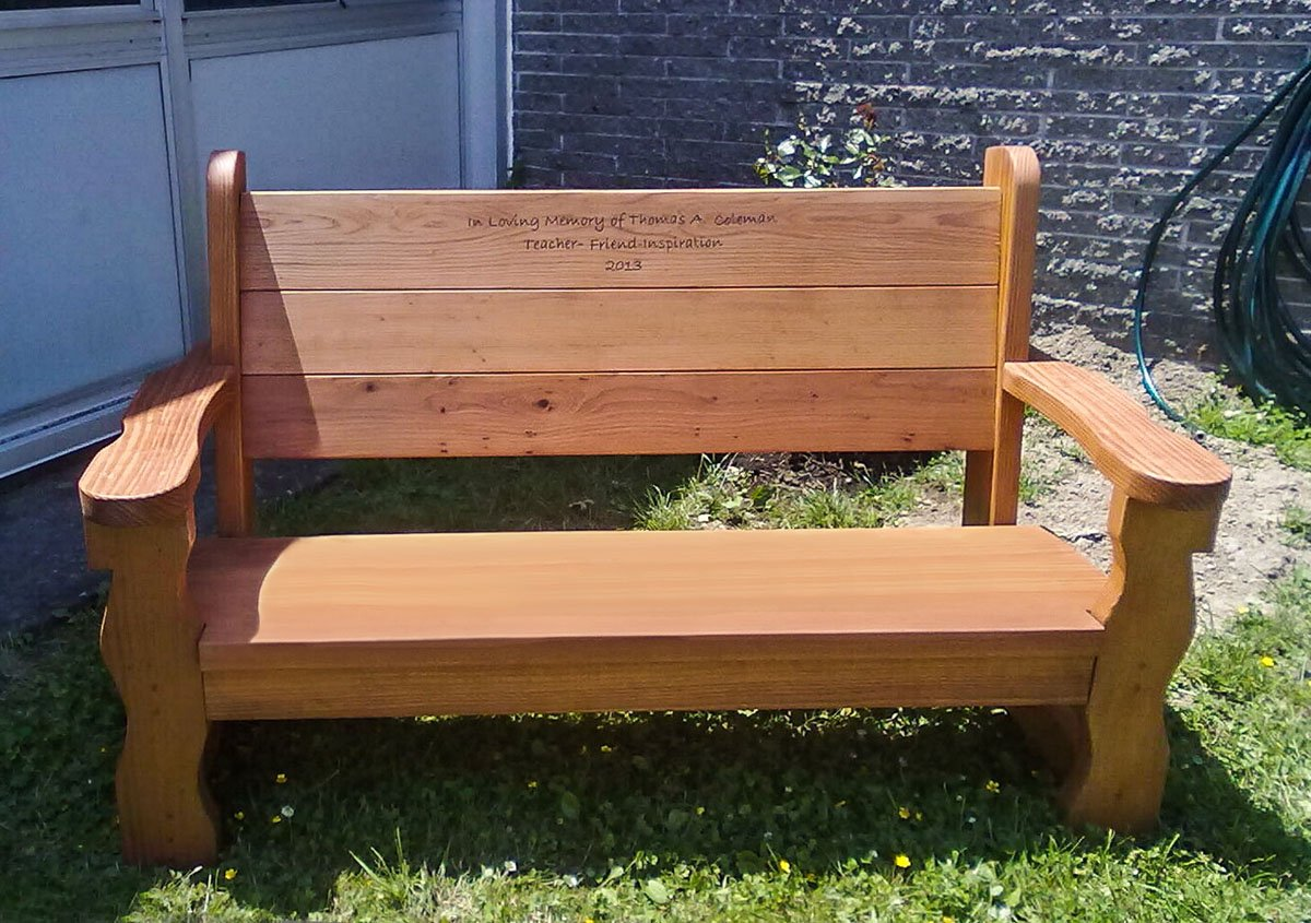 Rustic Wood Bench with Back for Garden Seating