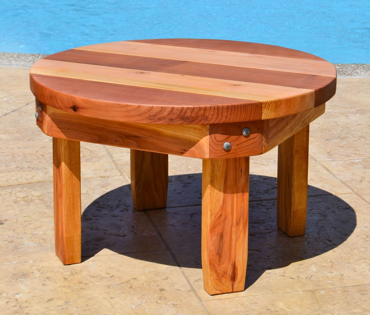 Multi Colored Round Small Wood Side Table Forever Redwood