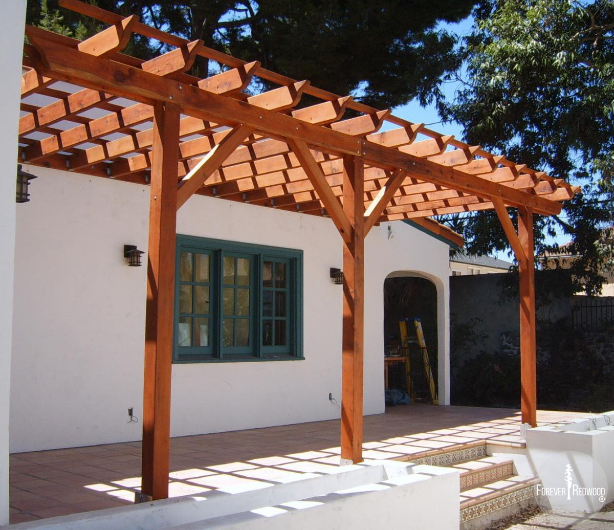 Pergola Kits Attached To House: Attached Garden Pergolas