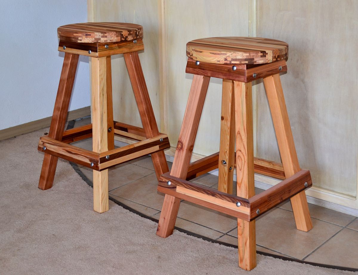 Backless Bar Stool Options 29 H Mosaic Eco Wood Round