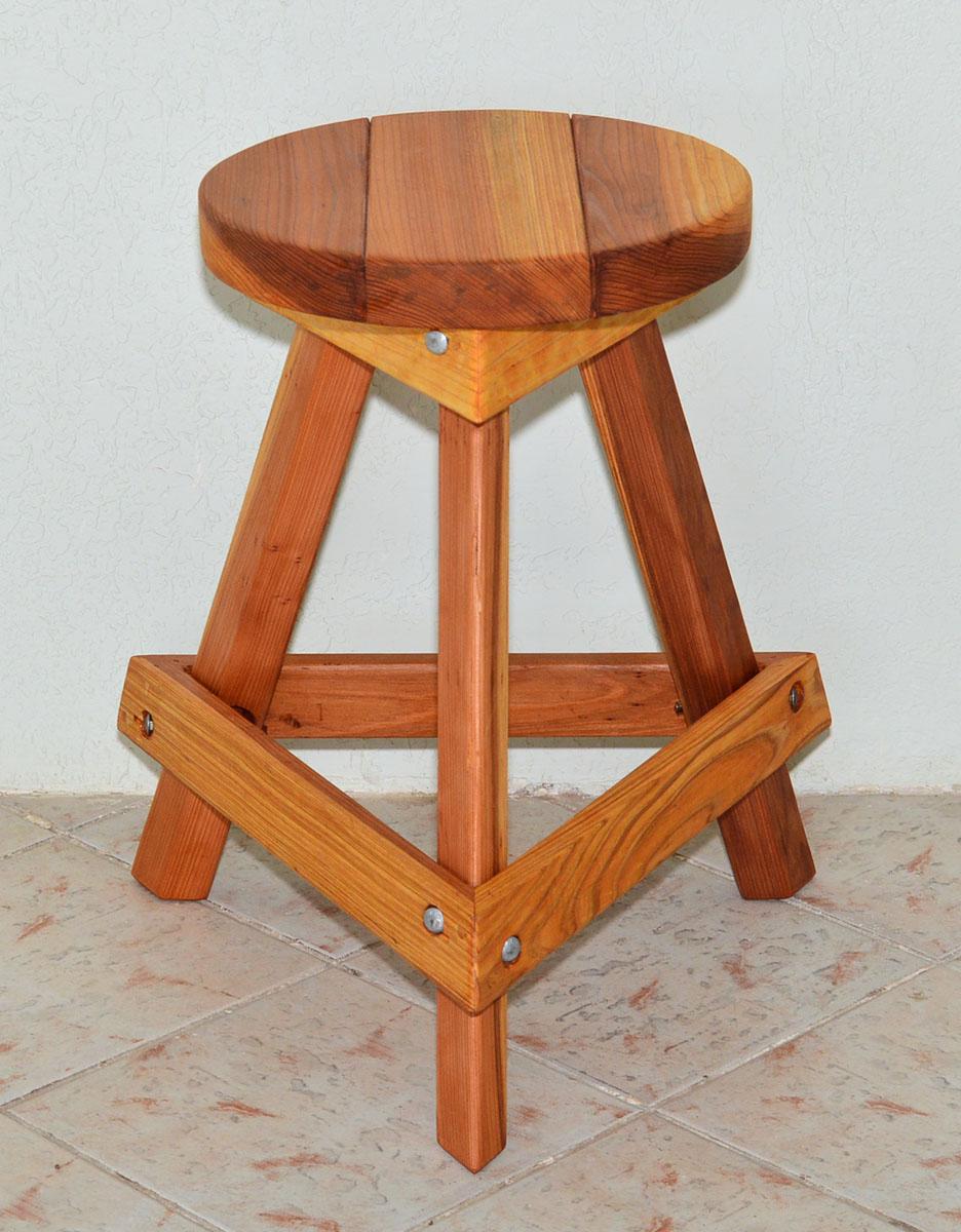 Backless Wooden Bar Stool Custom Made Redwood Stools