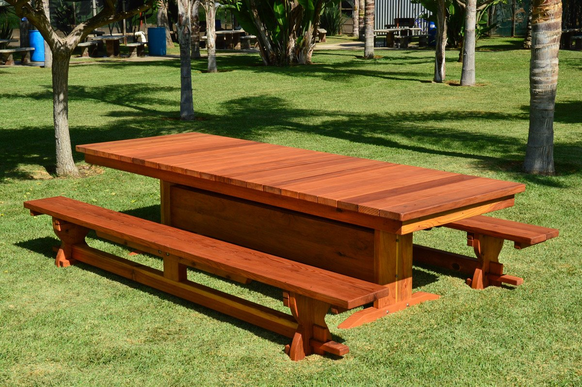 Outdoor Redwood Dining Table Custom Made To Order Tables - 10 foot outdoor dining table