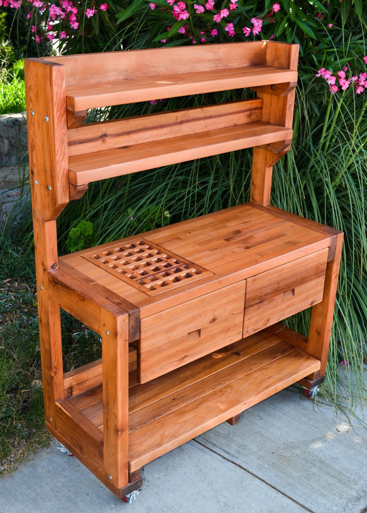 Redwood Patio Furniture Home Depot: Redwood Potting Bench, Custom Outdoor Wood Bench