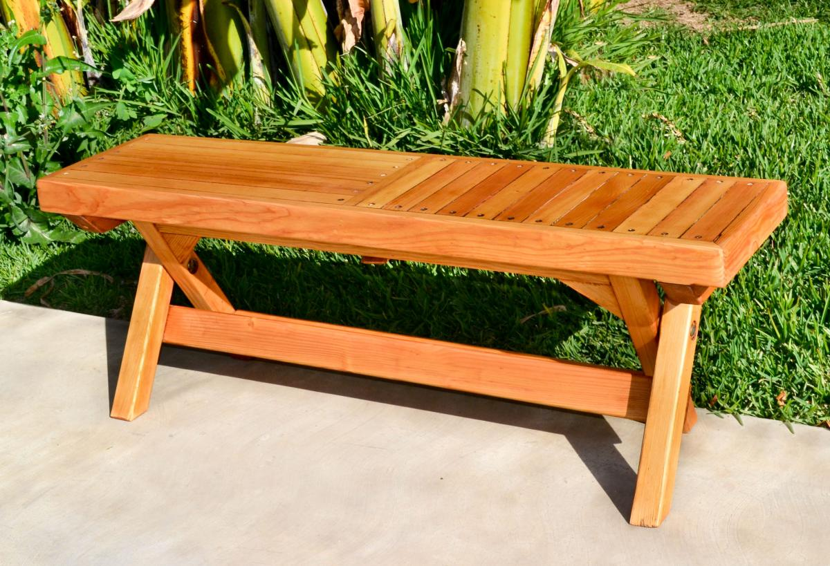 Folding Outdoor Wood Bench, Portable with Spinning Wood Locks