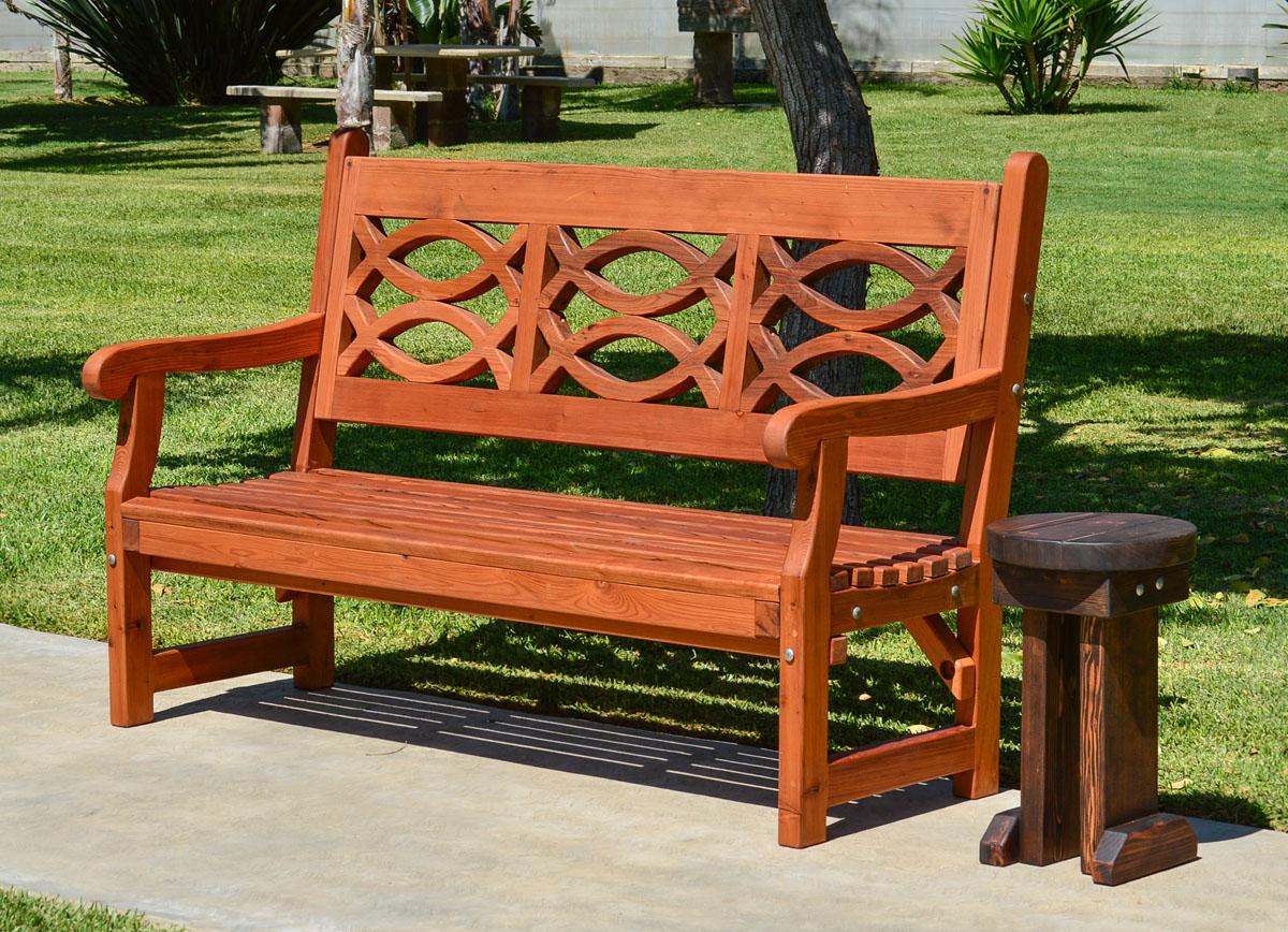 Redwood Garden Bench With English Design
