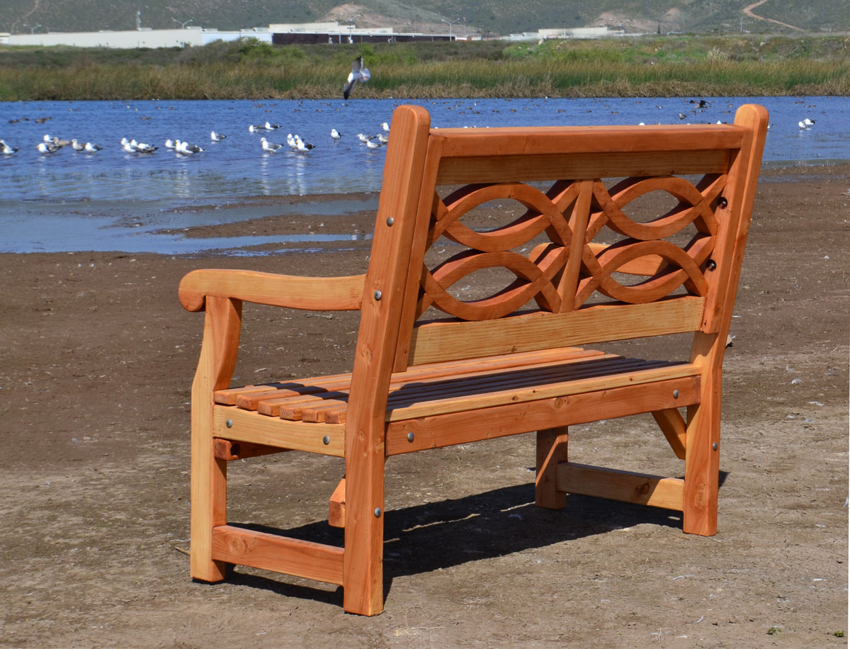 Redwood Garden Bench with English Design | Forever Redwood