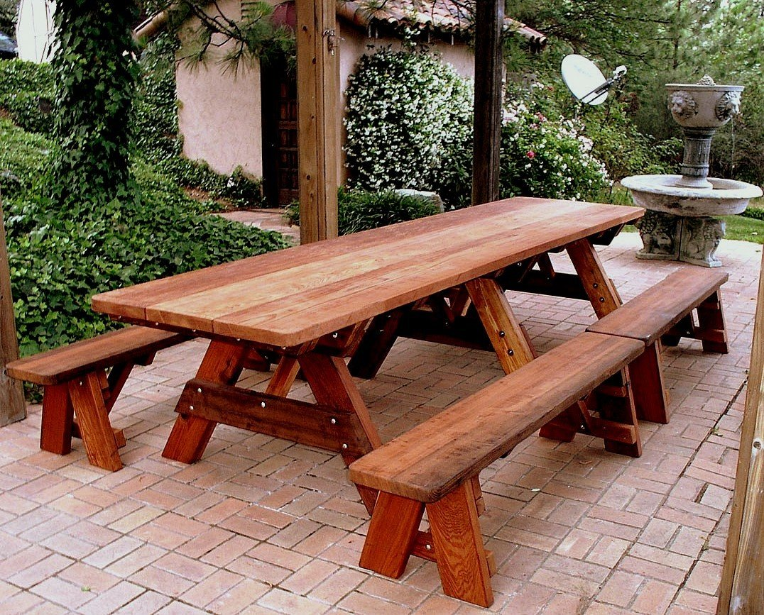 Large Wooden Picnic Table Custom Wood Picnic Table Kit - Large outdoor picnic table