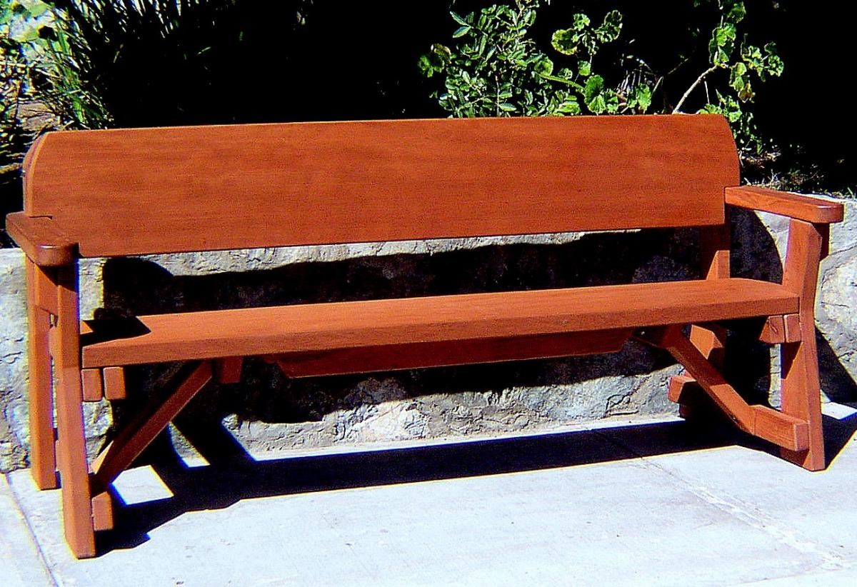 Solid Redwood Park Bench, Outdoor Wood Benches