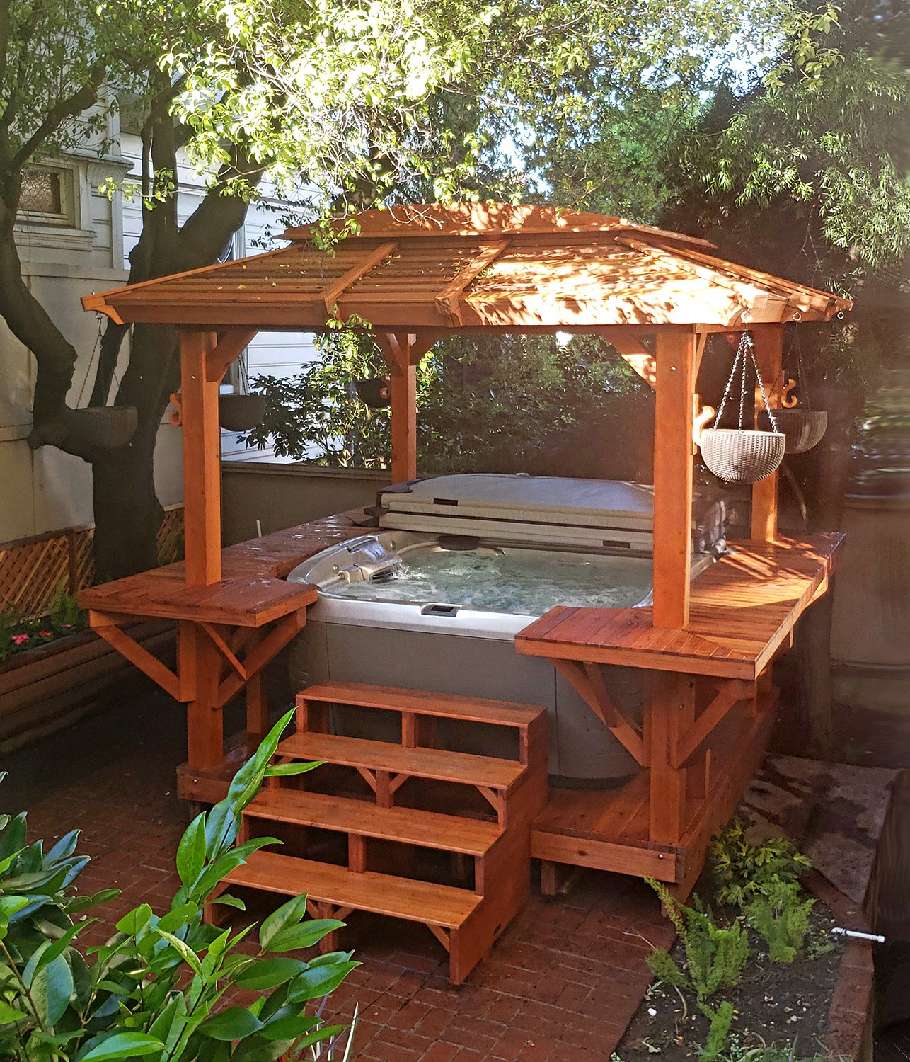 Hot Tub Enclosure Kits Hot Tub Pavilion Kit Made Of Redwood