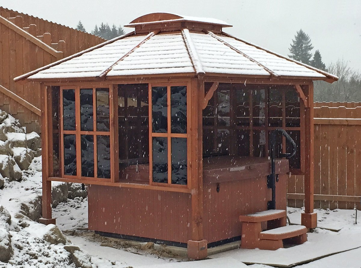 Hot Tub Enclosure Kits: Hot Tub Pavilion Kit Made of Redwood