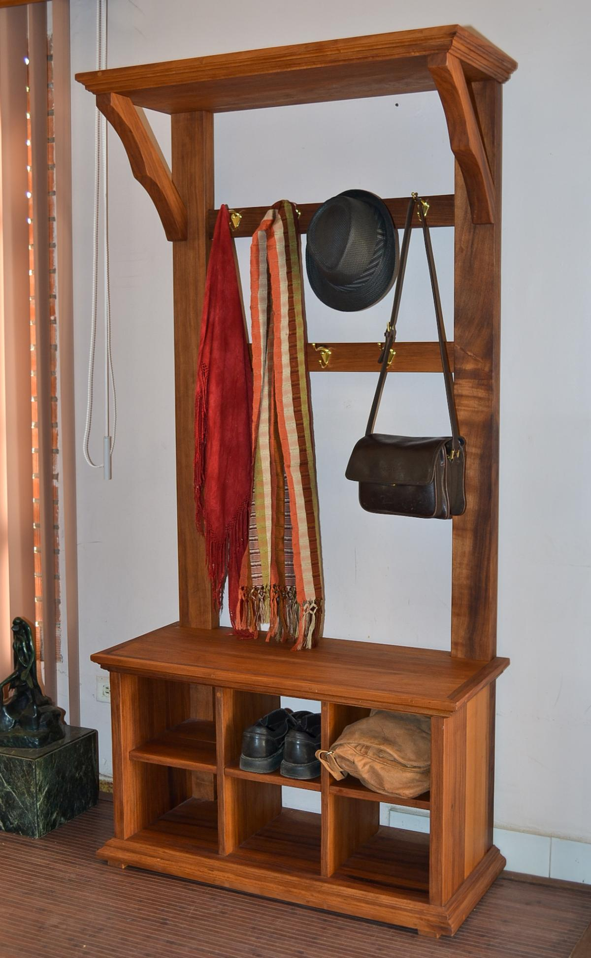 Rustic Hall Tree With Storage Bench Lixoinprocess