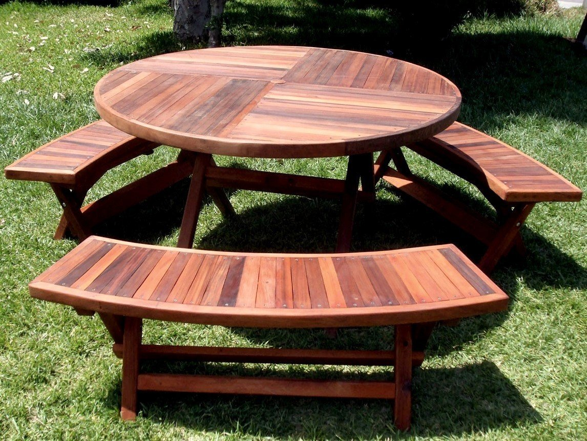 Redwood round folding picnic table with arc benches karyns redwood round folding picnic table watchthetrailerfo