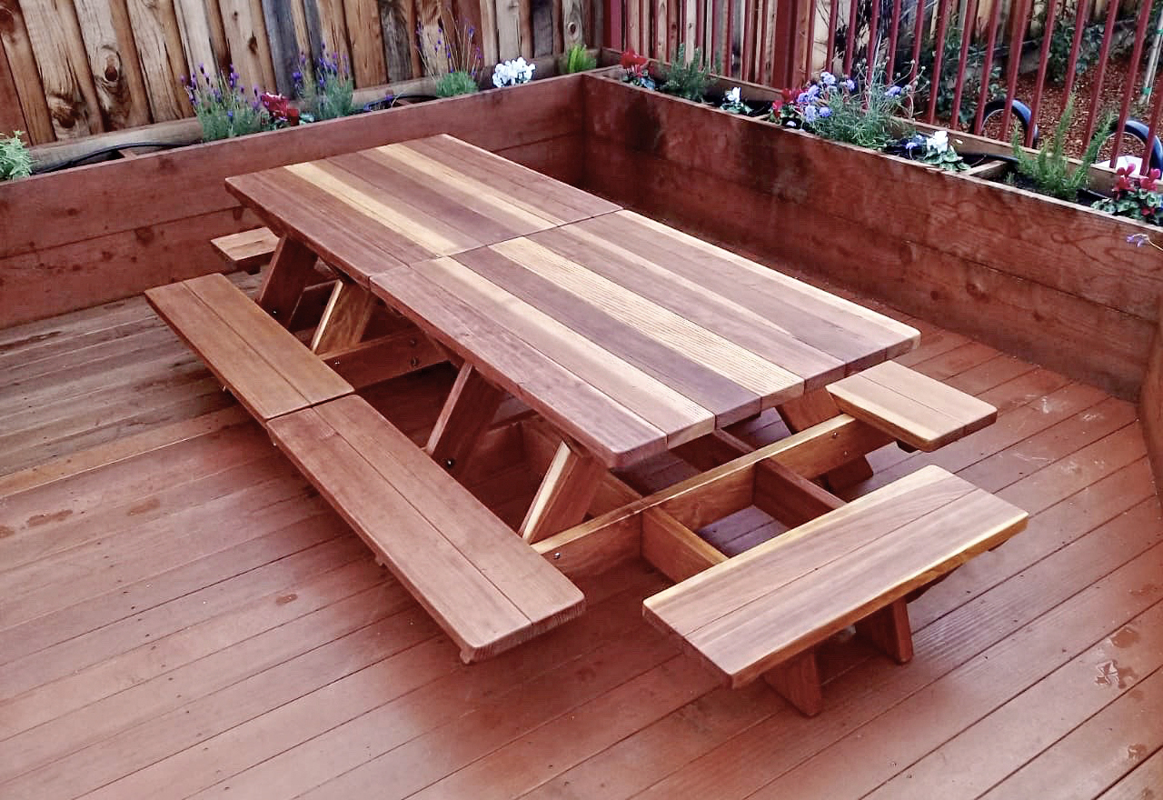 Kid Size Wood Picnic Table With Attached Benches Forever