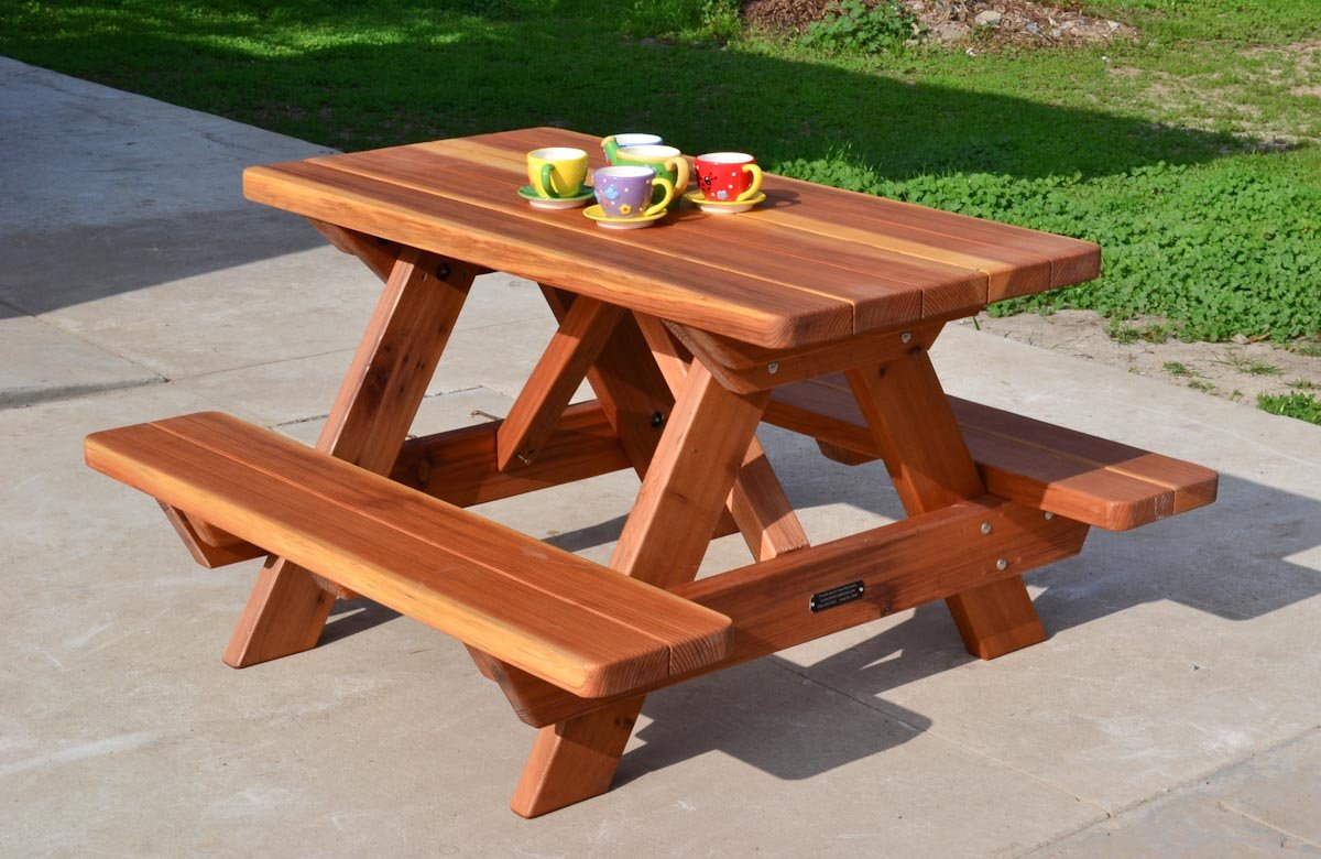 Kid size wood picnic table with attached benches forever redwood kid size wood picnic table attached benches watchthetrailerfo