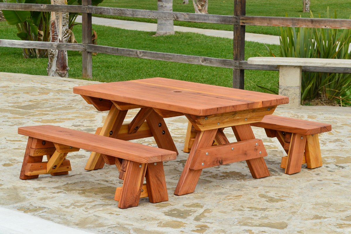 Kidu0027s Rectangular Wood Picnic Table With Detached Benches
