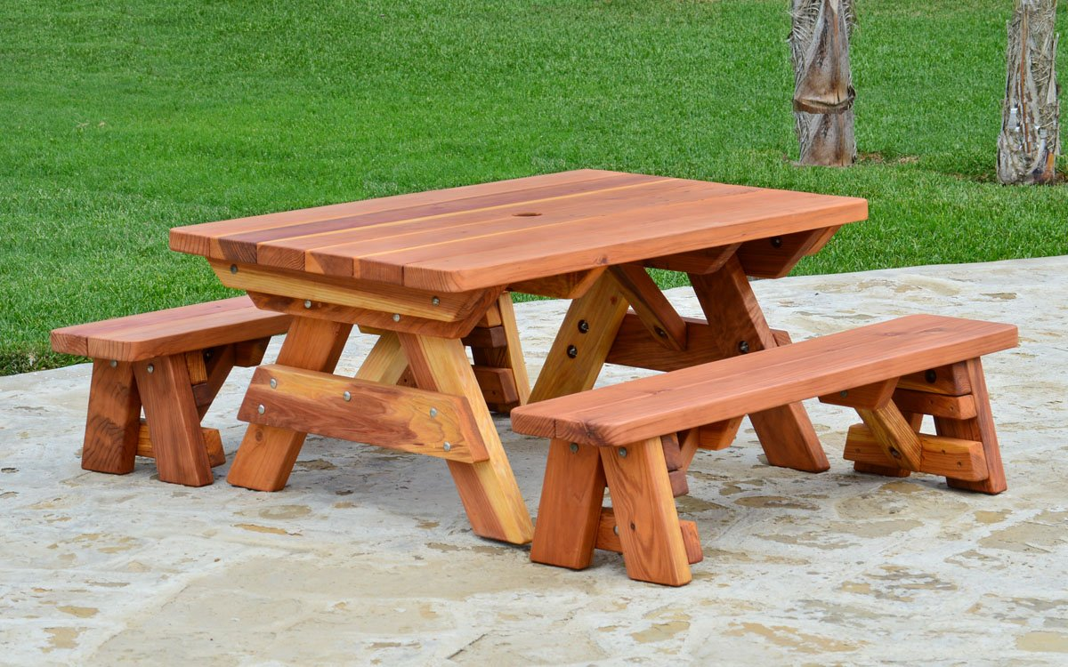 Kid Size Wood Picnic Table With Detached Benches Forever Redwood - Teak picnic table with detached benches
