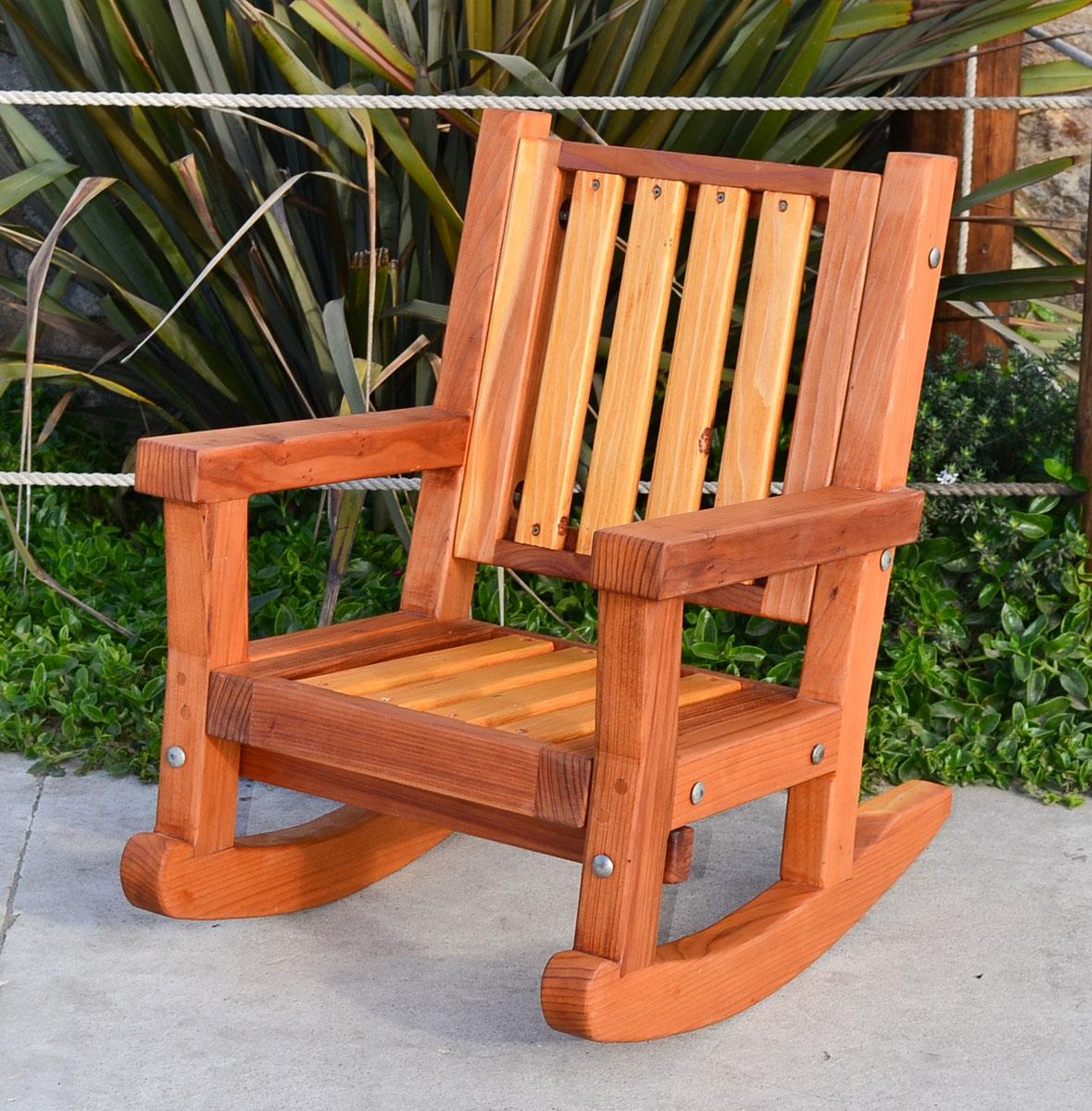Kids Wooden Rocking Chair Sturdy Redwood Kids Chair