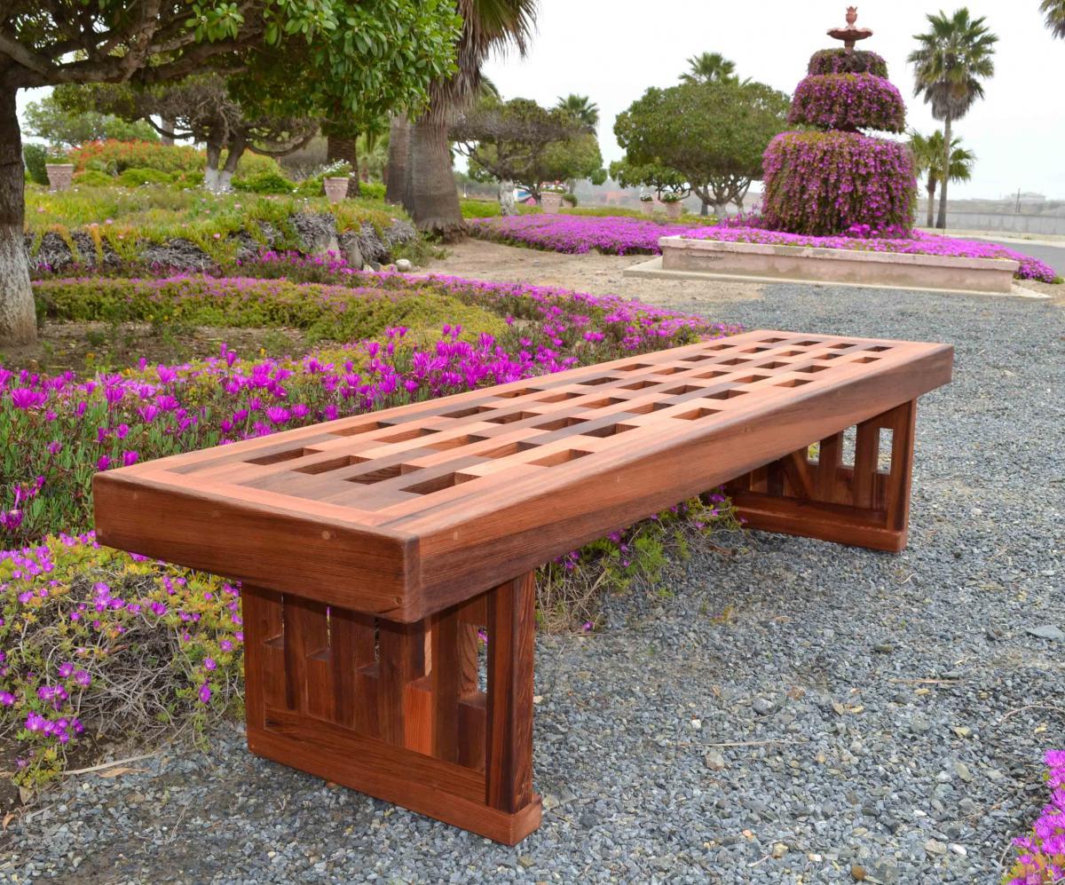 Redwood Lighthouse Garden Bench Custom Wood Seating