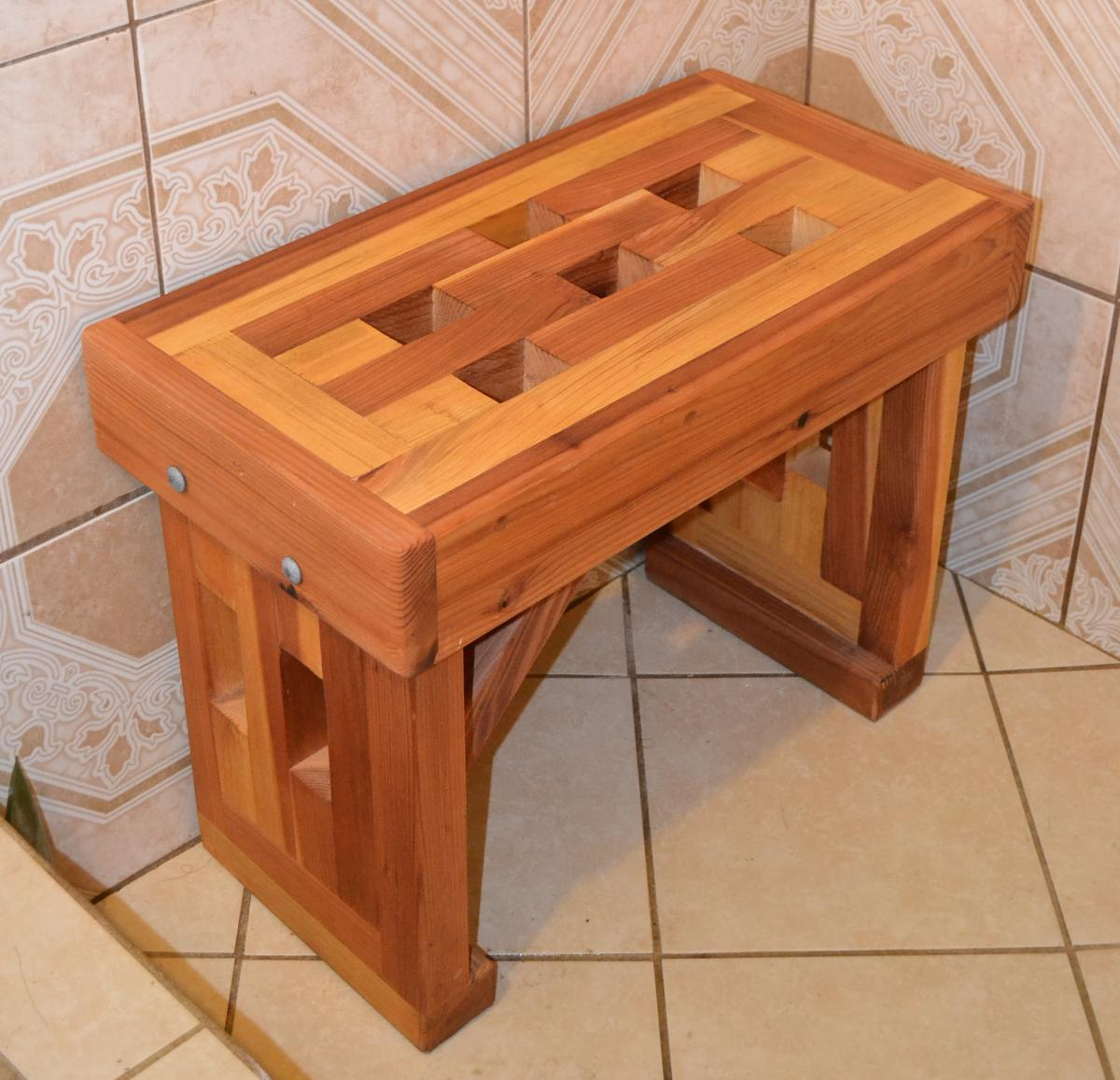 Lighthouse wooden shower bench