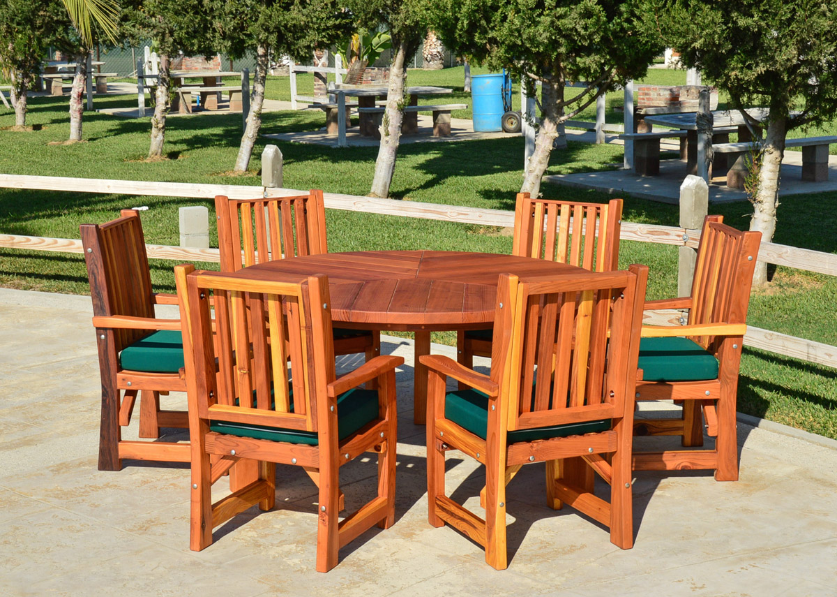 ... Lisau0027s Dining Table (Options: 5u0027 Diameter, Chairs, Redwood, With 6 ...