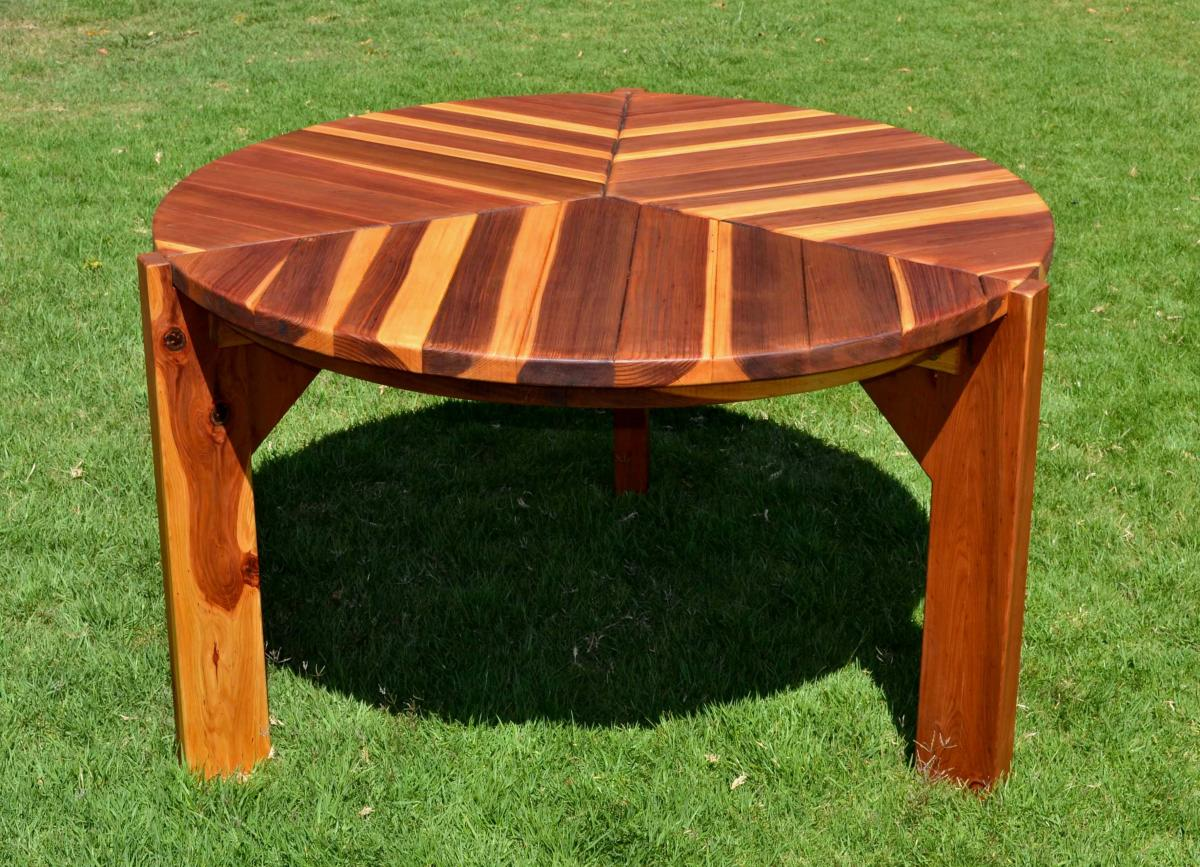 Retro Outdoor Patio Table: 1950s Style Wood Table & Chairs