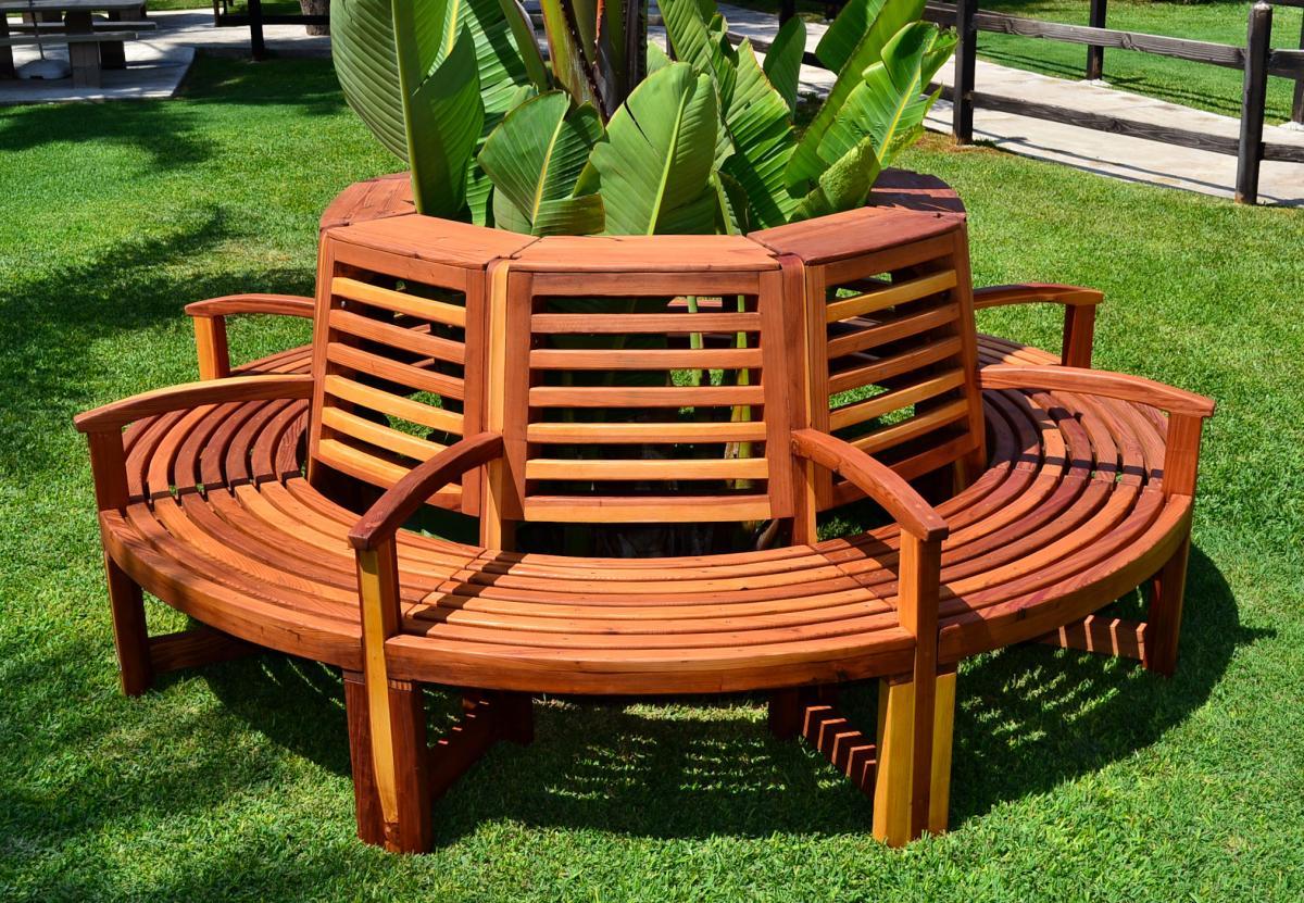 Redwood Outdoor Tree Bench Custom Redwood Seating