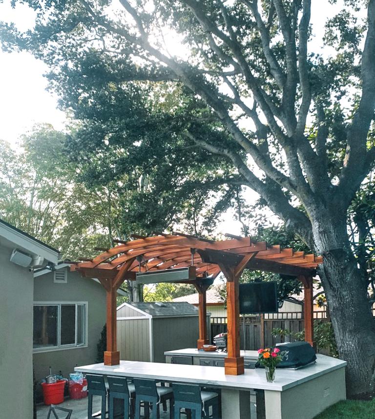 marin outdoor kitchen pergola (options: 14' l x 14' arc w,