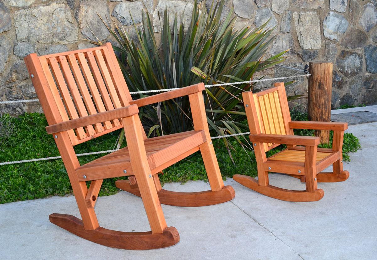 Massive Wood Rocking Chair Custom Redwood Rockers
