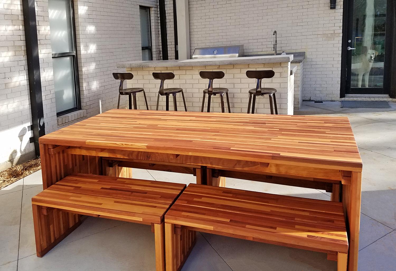 Maynard Modern Redwood Patio Table - Modern Redwood Patio Table With Benches Forever Redwood