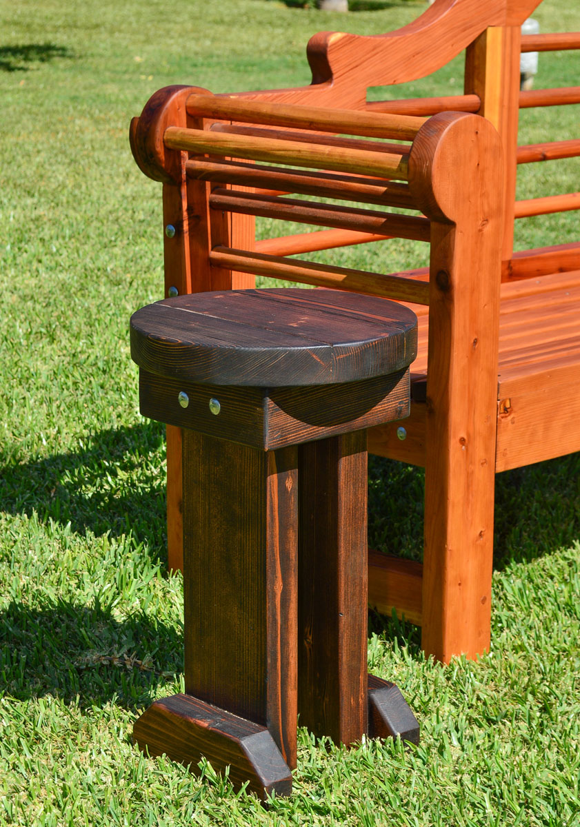 Mini 12 Inch Round Wood Side Table - Redwood Side Tables