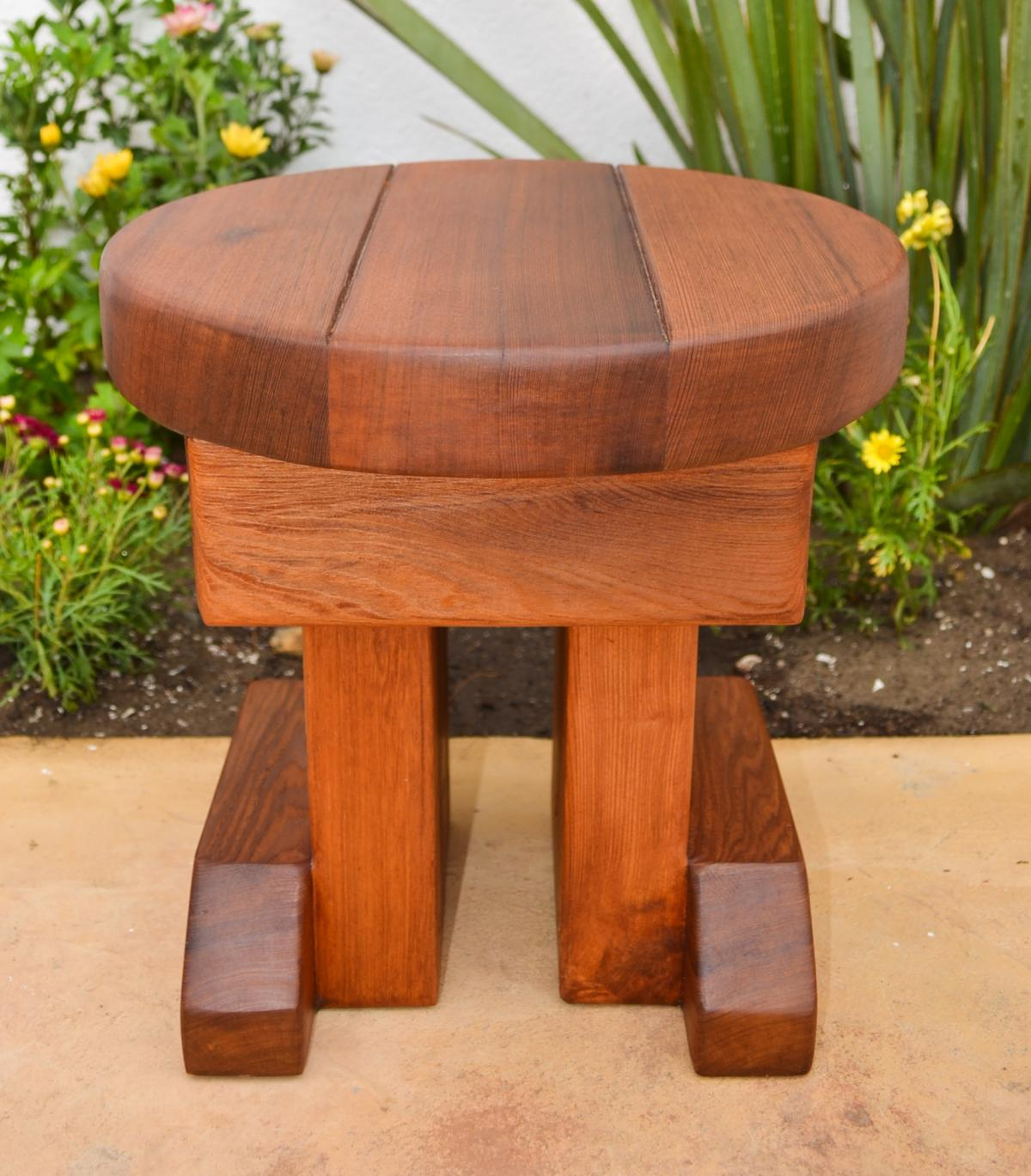 12 Inch Small Round Wood Side Table Redwood Side Tables