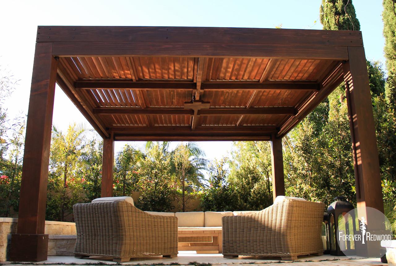 Modern Louvered Garden Pergola - Modern Louvered Garden Pergolas, Custom Made From Redwood