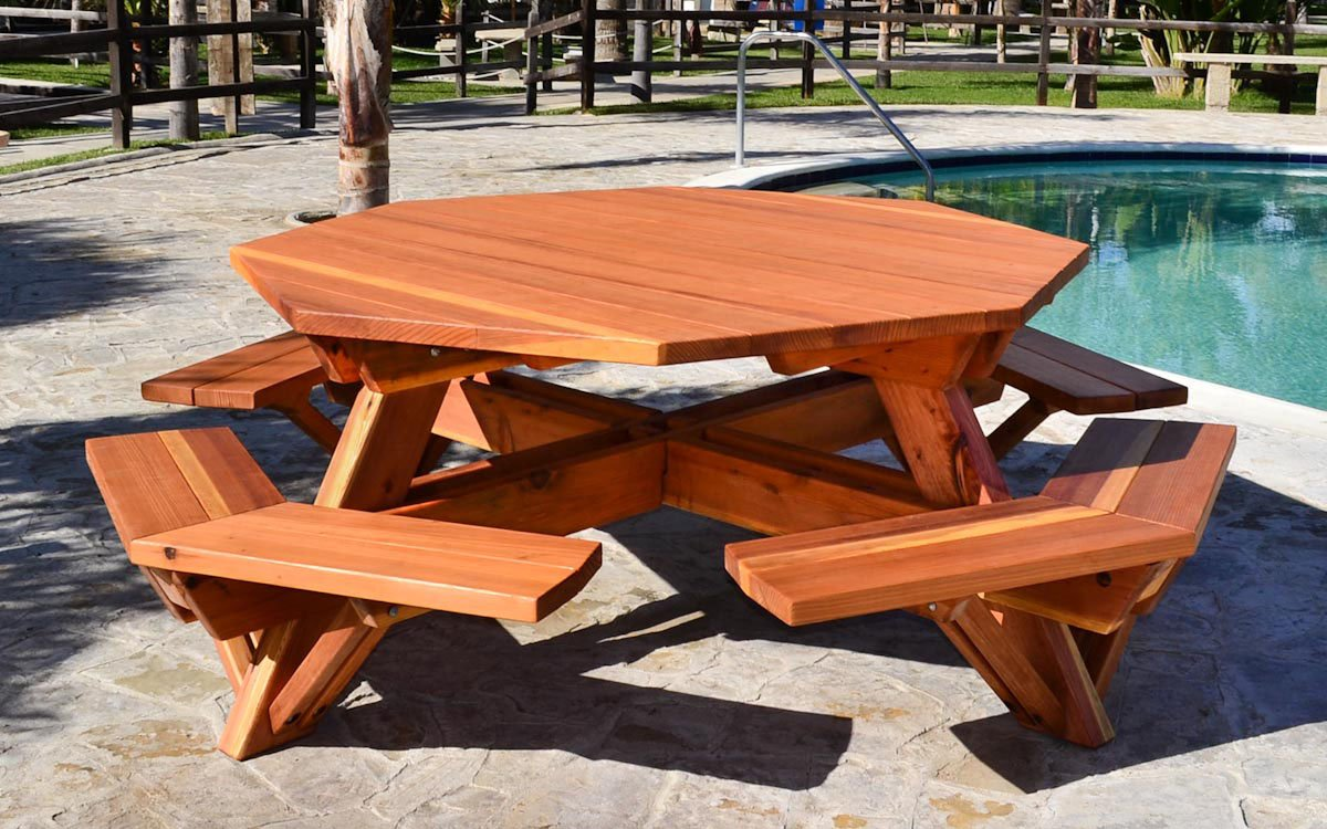 Wooden Octagon Picnic Tables