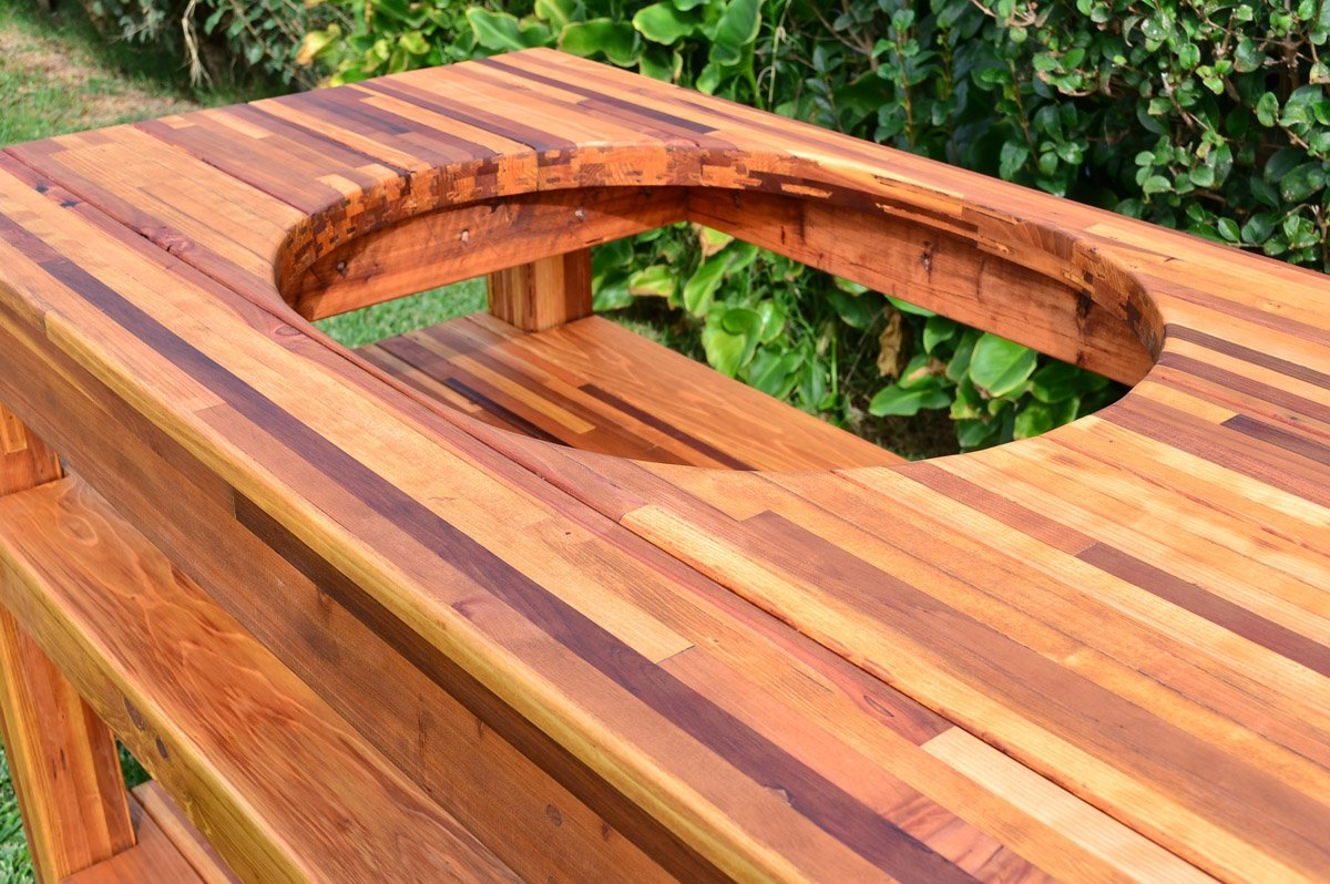 outdoor wood table with built in grill storage forever redwood rh foreverredwood com BBQ Grill Side Table Custom BBQ Tables