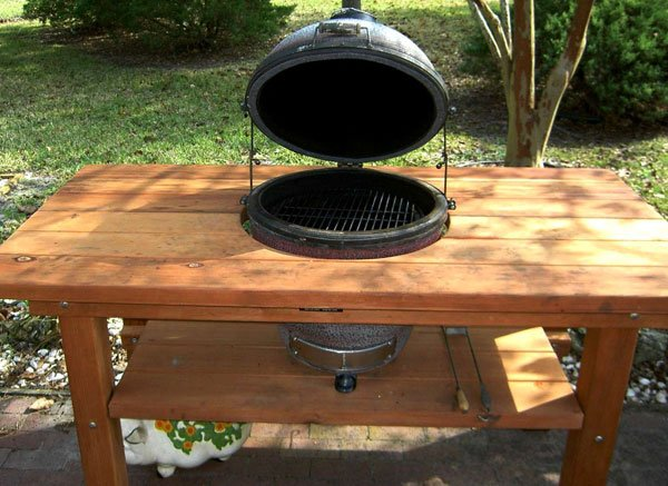 Outdoor Wood Table With Builtin Grill Storage Forever Redwood - Table with grill built in